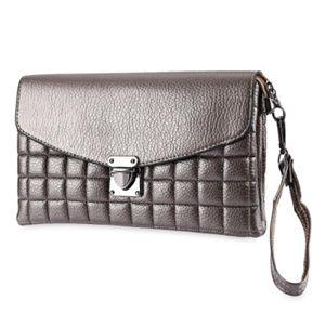 Handbags - Vegan Leather Clutch - Gray